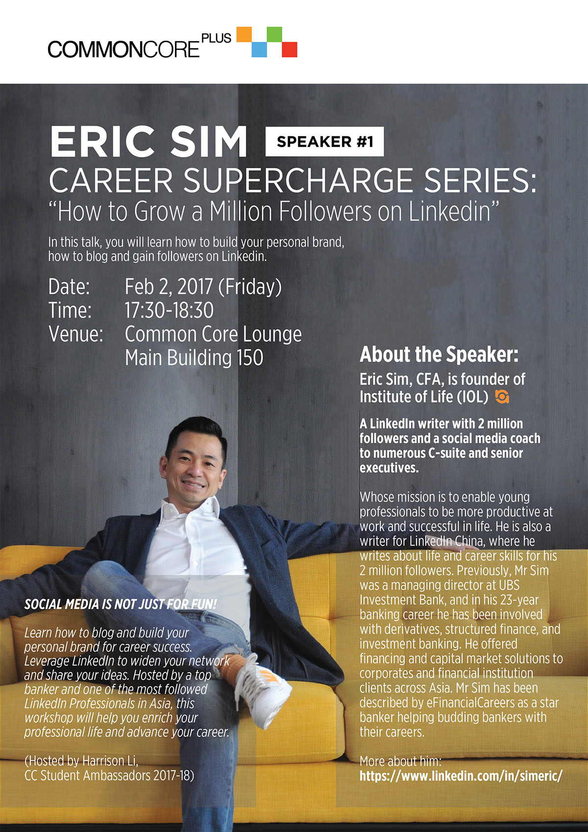 "Career Supercharge Series - ""How to Grow a Million Followers on Linkedin"" by Eric Sim"
